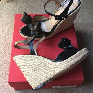 Valentino Black Leather Bow Espadrilles Wedges 40